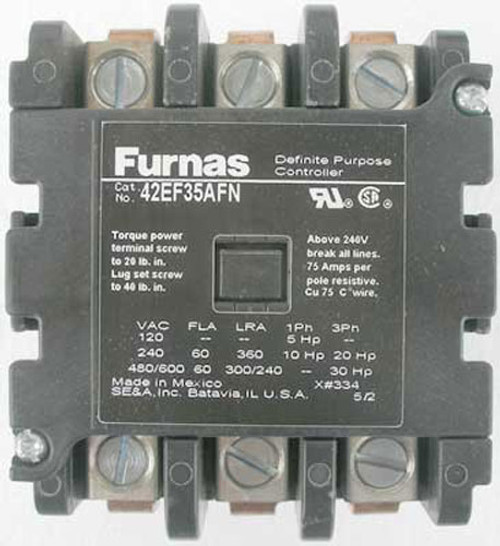 Furnas 42EF35AFN 3 Pole, FL 60 Amp, Definite Purpose Controller - New