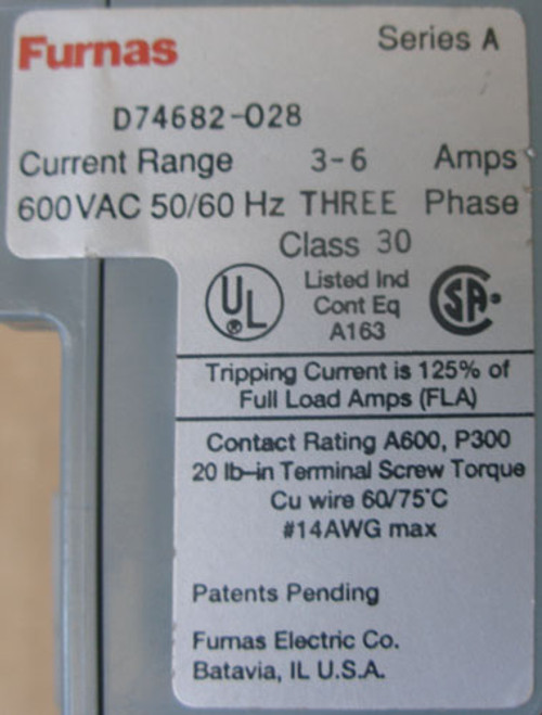 Furnas D74682-028 3-6A 600VAC 3Ph 50/60Hz Class 30 Overload Relay