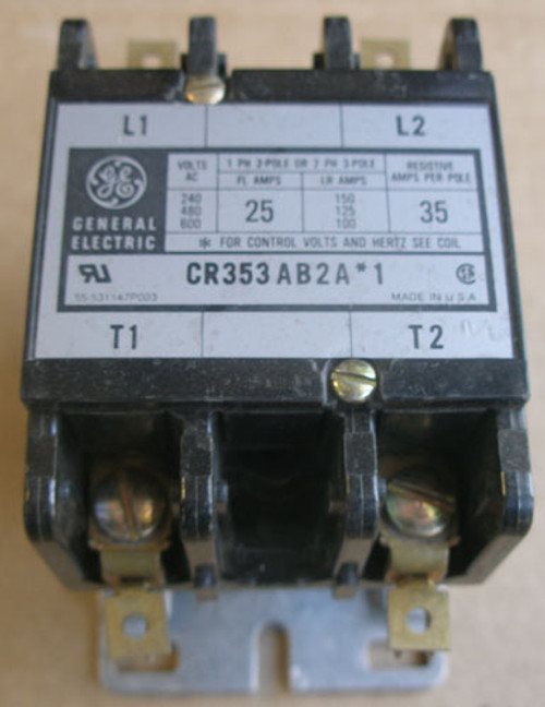 GE CR353AB2A*1 25A 240/480/600V 2P Magnetic Contactor 24V Coil