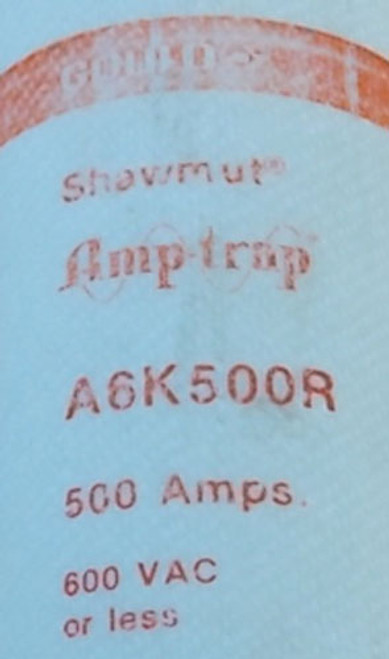 Gould Shawmut A6K500R 500A 600VAC Class RK1 Fuse - Used