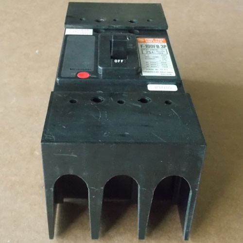 Hitachi F-100FB 3P 3 Pole 75 Amp 600V Fuse Free Circuit Breaker - Used