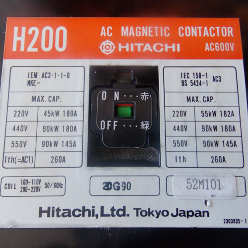 Hitachi H200 AC Magnetic Contactor 3 Pole 260 Amp 110-220V Coil - Used