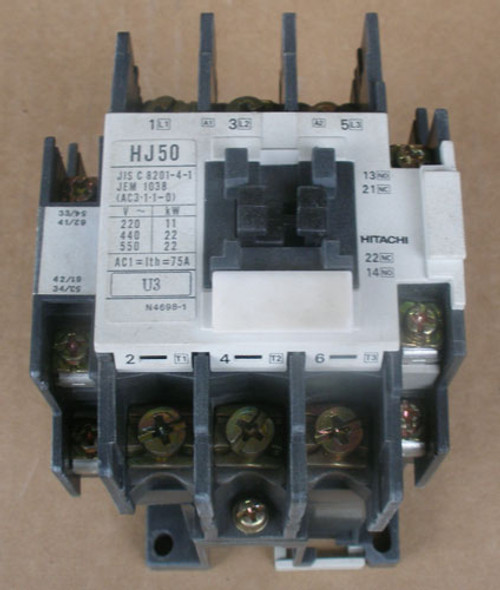 Hitachi HJ50 75A 3P 200-220V Coil Magnetic Contactor - Used