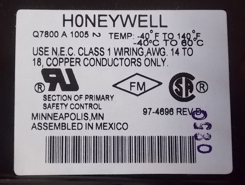 Honeywell Q7800A 1005 Universal Wiring Subbase Panel Mount - New