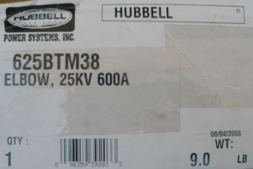 Hubbell 625BTM38 25KV 600A Elbow T-Body Kit without Test Point