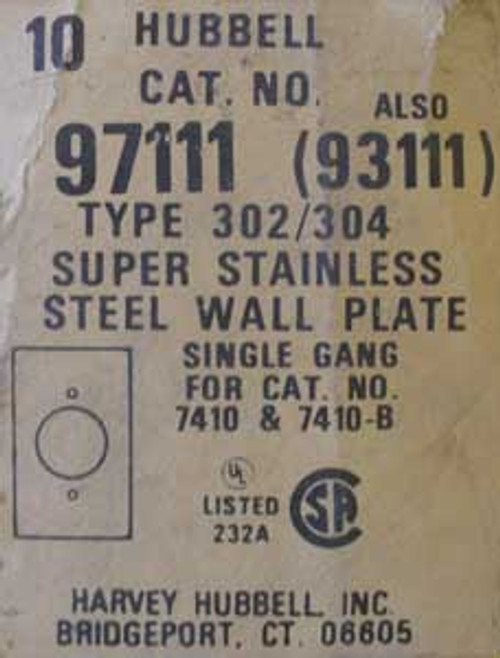 Hubbell 97111 Single Gang Super Stainless Wall Plate