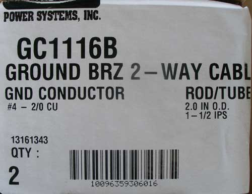 Hubbell GC1116B Ground Conductor #4 - 2/0 CU Brz 2-Way Cable (Lot of 2)