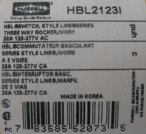 Hubbell HBL2123I Commercial 3 Way Rocker Switch 20A 120-277V, Ivory