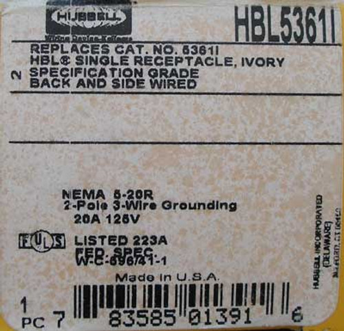 Hubbell HBL5361I 2 Pole 3 Wire 20 Amp Sgl Straight Blade Receptacle
