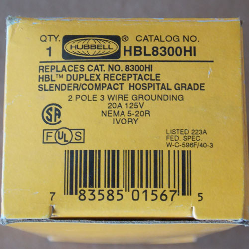 Hubbell HBL8300HI 20A 125V 2P3W Hospital Grade Duplex Receptacle Nema 5-20R - New