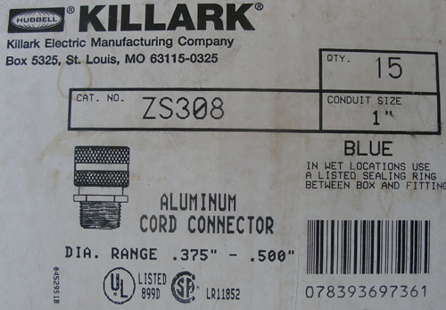 "Hubbell Killark ZS308 1"" Aluminum Cord Connector (Lot of 15)"