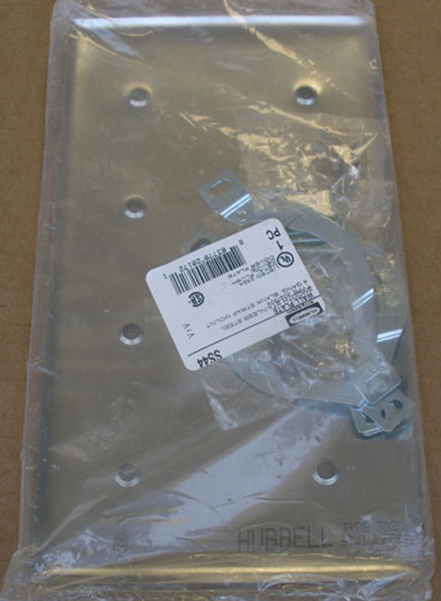 Hubbell SS44 302/304 4-Gang Stainless Steel Blank Strap Mount Wall Plate