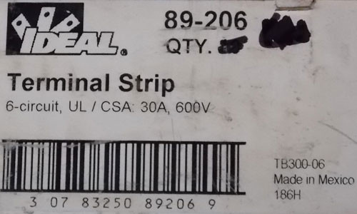 Ideal 89-206 Terminal Strip 6-Circuit, #8-32 Screw, 30 Amp, 600V - New