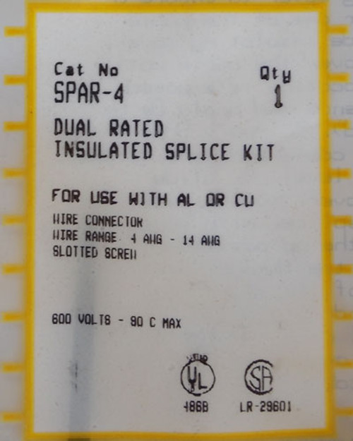 Ilsco SPAR-4 Dual Rated Insulated Splice Kit, 4 AWG - 14 AWG