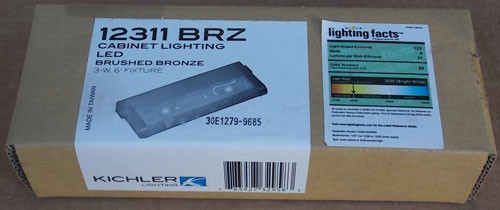 "Kichler 12311BRZ 6"" Brushed Bronze LED Cabinet Lighting Fixture 3 Watt - New"