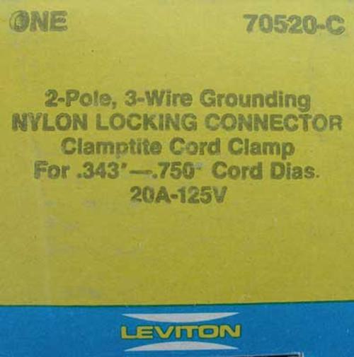 Leviton 70520-C 2 Pole 3 Wire 20 Amp 125V Nylon Locking Connector (Lot of 2)