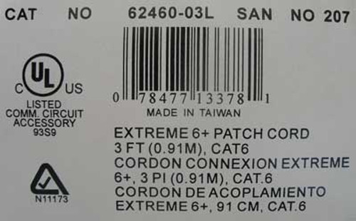 Leviton 62460-03L Extreme 6+ Patch Cord CAT 6, 3' Length (Lot of 2)