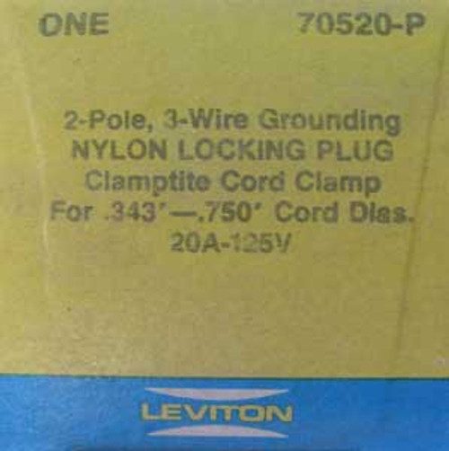 Leviton 70520-P 2 Pole, 20 Amp, 125 Volt, Nylon Locking Plug
