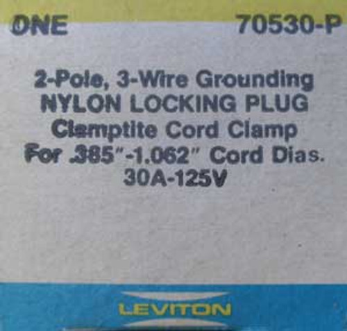 Leviton 70530-P 2 Pole, 30 Amp, 125 Volt, Nylon Locking Plug