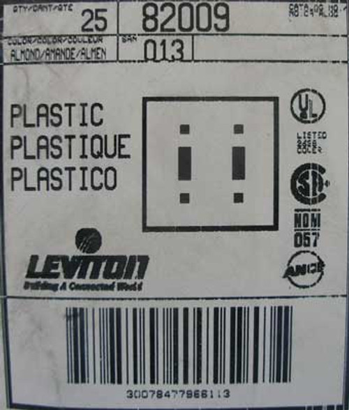 Leviton 82009 2-gang Toggle Wall Plate Almond (Lot of 25)