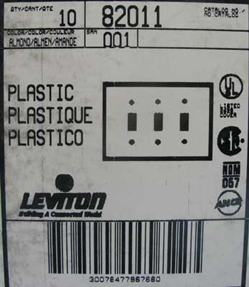 Leviton 82011 3 Gang 3 Toggle Wall Plate Almond (Lot of 10)
