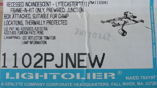 Lightolier 1102PJNEW Recessed Incandescent Lytecaster 7/11 Frame-In-Kit - New