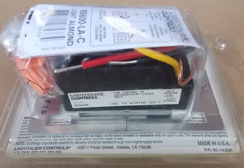 Lightolier RS600-LA Rockslide Preset Dimmer 600W Incand Light Almond