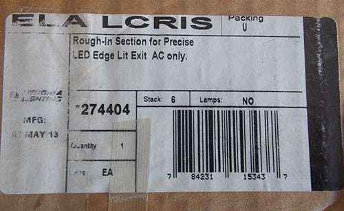 Lithonia ELALCRIS Rough-In Section for Precise LED Edge Lit Exit Sign