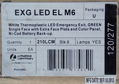 Lithonia EXG LED EL M6 Green/White Thermoplastic Emergency Exit Sign