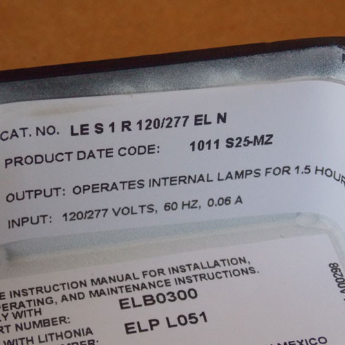 Lithonia LE S 1R 120/277 ELN Emergency LED Exit Sign Red Letter - New
