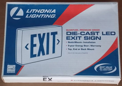 Lithonia LQC 1R ELN LED Exit Sign 120/277V Die Cast Alum Red Letter