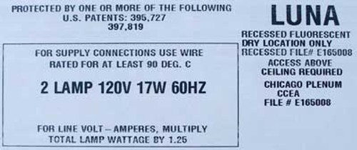 Luna FLU 2 Lamp 120VAC 17 Watt 60HZ 2x2 Recessed Fluorescent - New
