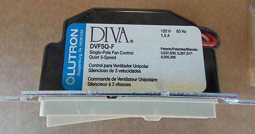 Lutron DVFSQ-F-IV 1.5A 120V Single Pole Fan Control Quiet 3-Speed Switch - New