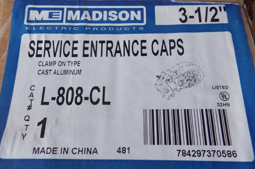 "Madison L-808-CL 3-1/2"" Clamp on Service Entrance Cap - New"