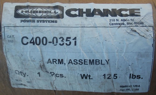 "Hubbell Chance C400-0351 2.5"" x 10' Horizontal Arm Assembly - New"