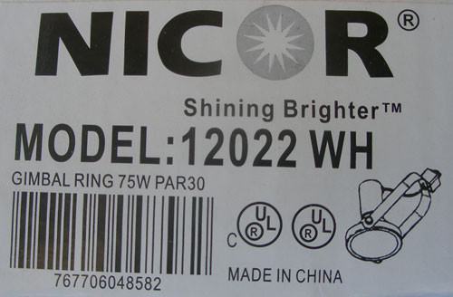 Nicor 12022WH 75W PAR30 Gimbal Ring Track Directional /Spot Light