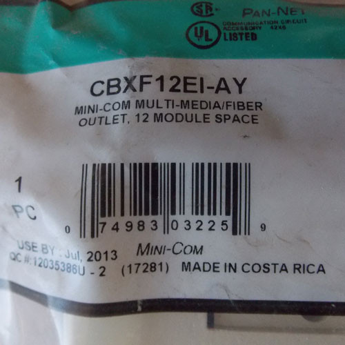 Panduit CBXF12EI-AY Mini-Com Multi-Media/Fiber Outlet, 12 Module Space - New