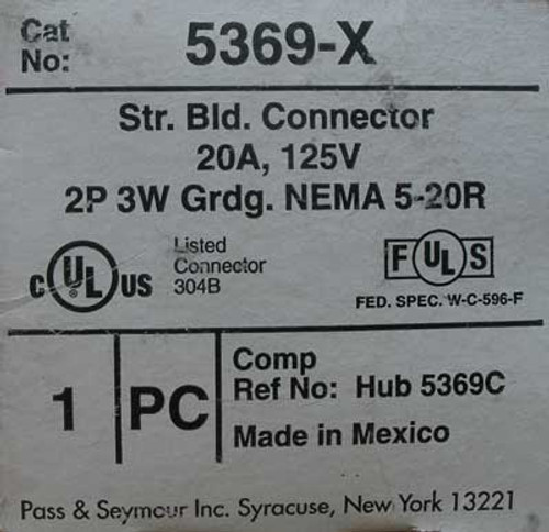 Pass & Seymour 5369-X Str. Bld. Connector, 20 Amp, 125 Volt, 2 Pole