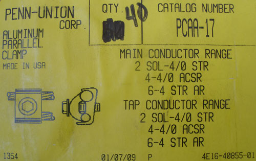 Penn-Union Corp PCAA-17 2 SOL-4/0 STR Single Connector Aluminum Parallel Clamp - New