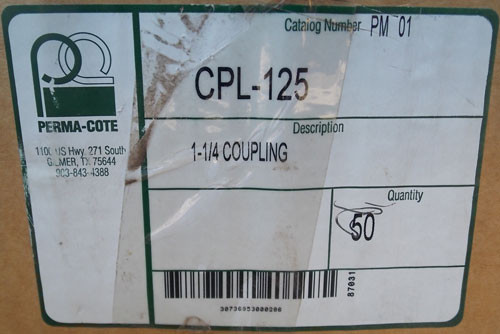"Perma-Cote CPL-125 1-1/4"" GRC Coupling Supreme PVC Coated (Lot of 50)"