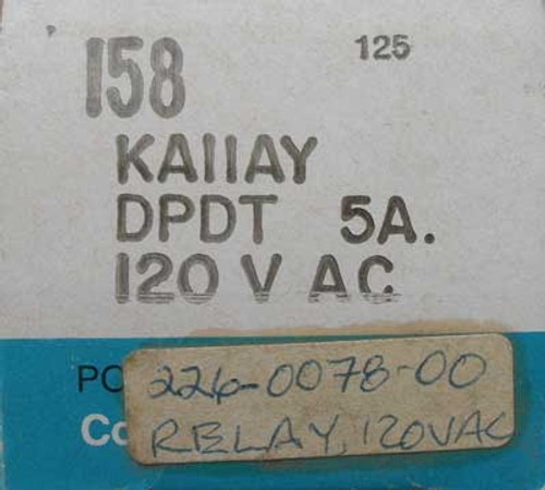 Potter & Brumfield KAIIAY 5 Amp 120 VAC Relay - New