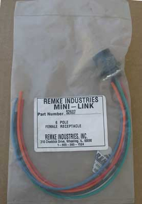 """Remke 52607 Rubber Mini-Link Receptacle 6 Pole with 12"""" Pigtail Lead"""