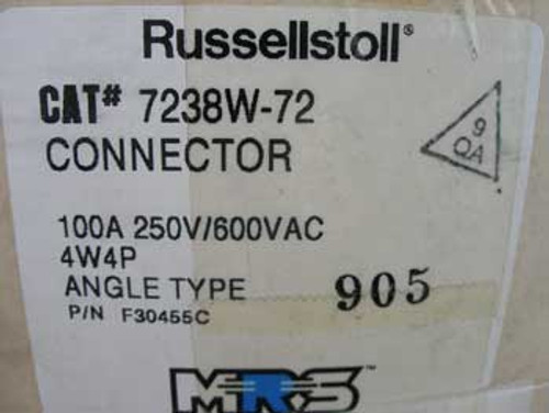 Russellstoll 7238W-72 Angle Type Connector 100 Amp - New