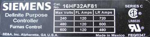 Siemens 16HF32AF81 120A Def Purpose Starter 3P 110/120V Open