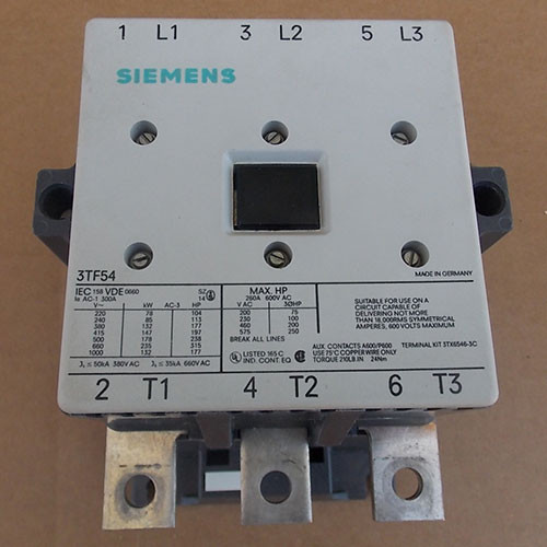 Siemens 3TF54 Magnetic Contactor 250A 600V 3Ph 120V Coil - Used
