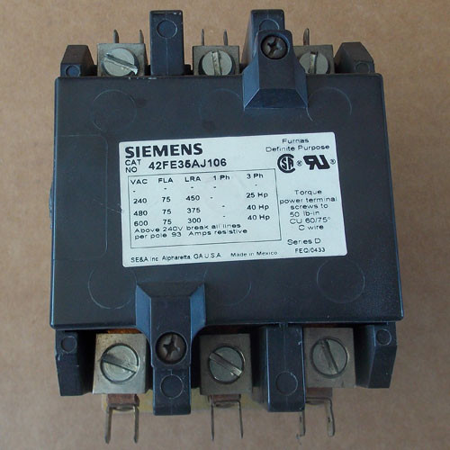 Siemens 42FE35AJ106 3 Pole 75 Amp Definite Purpose Contactor 24V - Used
