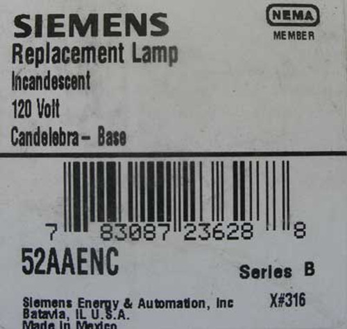 Siemens 52AAENC 120V Incandescent Replacement Lamp