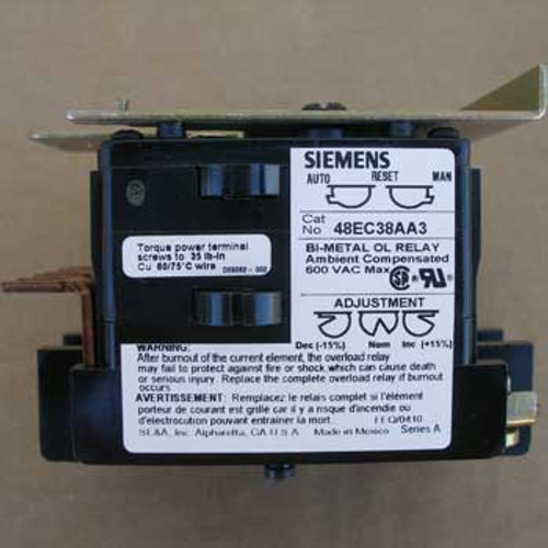 Siemens Furnas 48EC38AA3 30 Amp 3 Pole Overload Relay