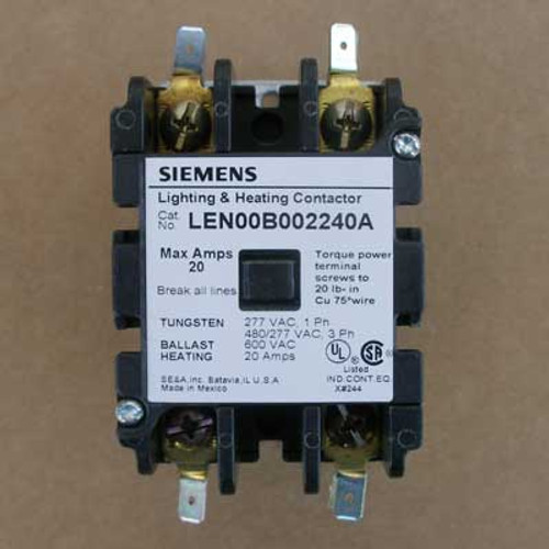 Siemens LEN00B002240A 20 Amp 240V 2 Pole Lighting Contactor Open