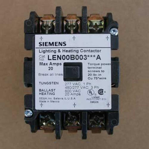 Siemens LEN00B003208A 20 Amp 208V 3 Pole Lighting Contactor Open